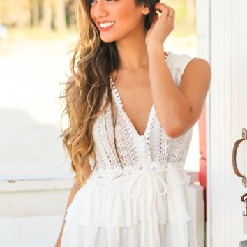 Ivory Crochet Top with Ruffles