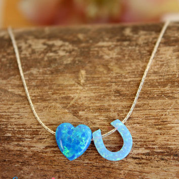LOVE YOU necklace / Heart Horseshoe Opal Necklace / Opal Pendant necklace / sterling silver necklace / Gift For Mom Mothers Day Opal Jewelry