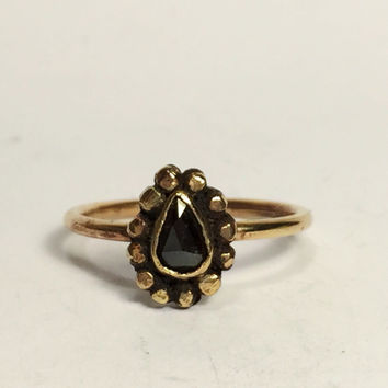 Black Diamond Ring; engagement ring; wedding ring; salt and pepper diamond; diamond ring; 14k gold ring; bohemian jewelry; handmade; boho