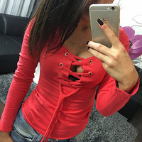 Spring Women T-shirts 2016 Solid Lace Up Sexy Top V-neck Long Sleeve Tshirt Women Low Cut Clothes