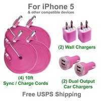 10 Ft Pink Flat Sync Cable + Wall & Car Charger Combo for Apple iPhone 5
