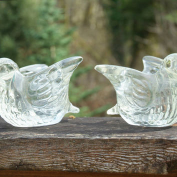 Vintage Avon Love Birds Candle holders, Clear Glass Doves, Collectible Matched Pair