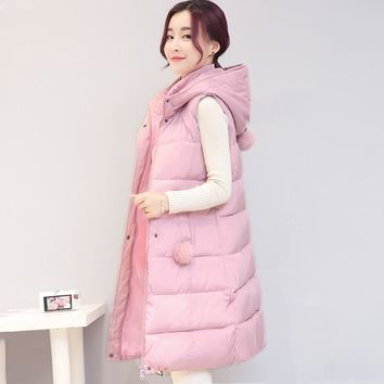 Solid collar hooded winter women vest with fur ball long cotton-padded womens waistcoat large yards colete fashion