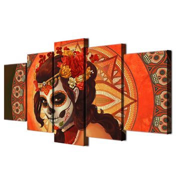 Day of Dead Face Wall Art panel picture on Canvas Print Framed UNframed Panel