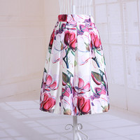 Gorgeous Retro Floral Print Big Swing Skirt