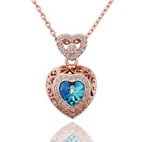 Lady's Rose Gold Plated Dos Corazones Brass Pendant Necklace with Sparkly Contour and Center Blue Swarovski Crystal