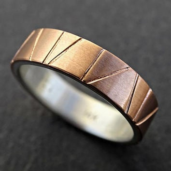 viking wedding ring gold, mens wedding band two tone, mens promise ring flat band, geometric ring artisan gold ring mixed metal