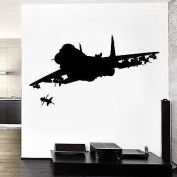 Wall Vinyl Jet Fighter Firing Missile Guaranteed Quality Decal Unique Gift (z3466)