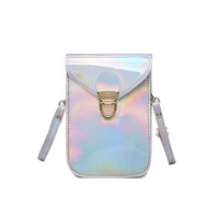 2017 New Mini Holographic Cross Body Bag for Women Messenger Bags Solid Silver Young Women Shoulder Bag Summer-in Shoulder Bags from Luggage & Bags on Aliexpress.com | Alibaba Group