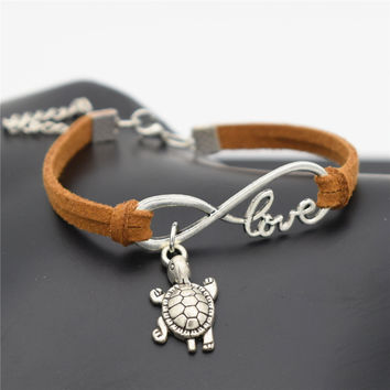 Summer Chic 2016 Beach Lovely Animals Jewelry Small Tortoise Cute Silver Sea Turtle Charms Love Infinity Leather Unique Bracelet