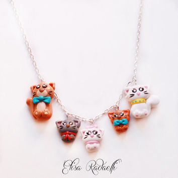 aristocats necklace - polymer clay