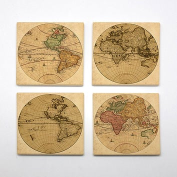 COA-010 - Set of 4 Ceramic Coasters - World Map - City Maps - Map Art - Maps Of Cities  - Vintage & Wanderlust theme - by HeartOnMyFingers