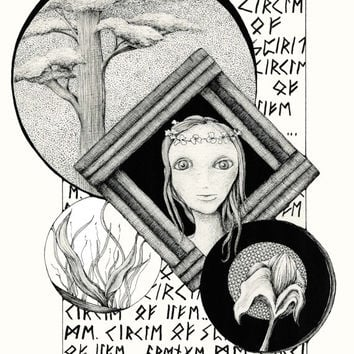 AVENGE ME: Pen and Ink illustration Black and White drawing, botanical wiccan surreal Fine Art Print 8x10 Limited Edition Fine Art Print
