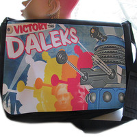 dr who doctor who inspired victory daleks large messenger bag for laptop, books, art supplies etc