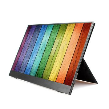 15.6 Inch 4.4mm Thin IPS Portable Monitor For PS4 Xbox HDMI USB 1920 * 1080p LCD Screen With Leather Stand For PC Laptop