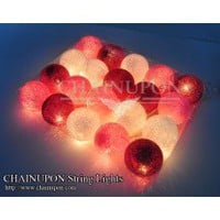 Pink Tone Cotton Balls String Lights