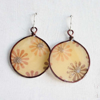 Brown and Yellow Flower Wire Framed Resin Earrings, Autumn Jewelry