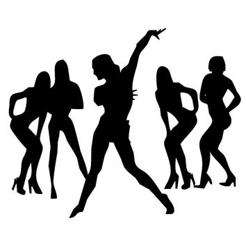 Sexy Nude Girl Crazy Dance Band Compositions Passion Silhouette Car Stickers for Window Door Laptop Vinyl