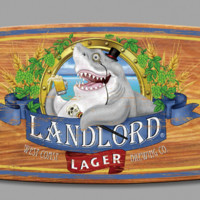 Landlord Lager Surfboard Sign with Shark Bite (8549) - Illuminada