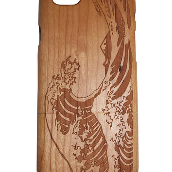 Japanese Great wave Hokusai print Iphone 5 /5s/ 6 wooden engraved bamboo phone case cover