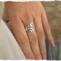 Silver Ring, Leaf Ring, Silver Leaf Ring, Band Ring, Vine Ring, Gift under 30
