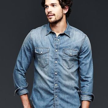 Shop Western Denim Shirts For Men on Wanelo