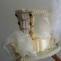 Alice Steampunk Wonderland Corset back, Kawaii MIni Top Hat on hairband.  Costume, Wedding, Tea party