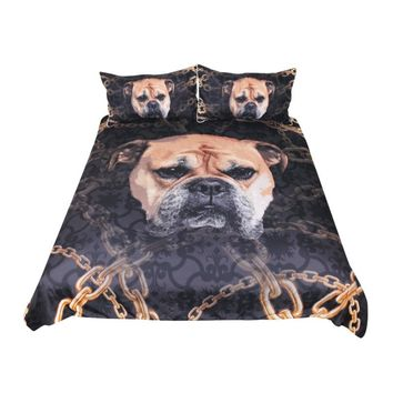 Bulldog Bedding 3D Printed Duvet Cover With Pillowcase