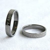 4 mm Black Gold Simple Ring