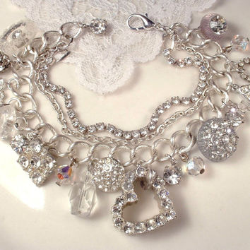Valentines Day Gift, Vintage Clear Pave Rhinestone & Crystal Silver Art Deco Heart Charm Bracelet, OOAK Antique Assemblage Button , Bridal