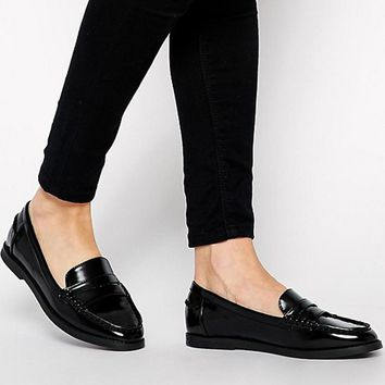 Teahoo 2018 Women's Slip-on Penny Loafers Handmade Patent Leather Women Flat Shoes Fashion Oxford Shoes for Women Flats