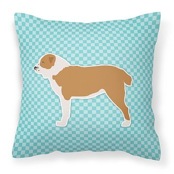 Central Asian Shepherd Dog Checkerboard Blue Fabric Decorative Pillow BB3728PW1818