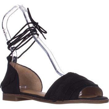 Lucky Gelso Tie Up Sandals, Black, 7.5 US