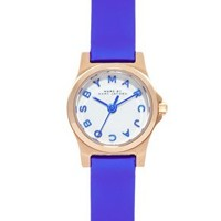 Marc By Marc Jacobs Mini Henry Blue Leather Strap Watch at asos.com