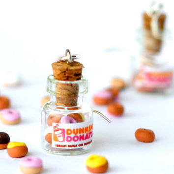 Dunkin Donuts kawaii earrings jar polymer clay miniature by Zoozim