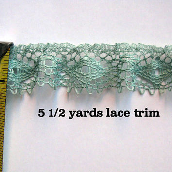 Sage Green Lace Trim, Sewing Lace Stiff Trimming Embellishment 5 1/2 yards 1 inch wide