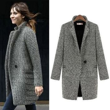 Fenghua Fashion Long Woolen Women Coat Female Plus Size Winter Plaid Jacket Wool Blend Cape Coat Tweed Outwear 5XL 6XL 7XL
