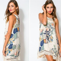 Stitching lace vest sleeveless print dress and long sections New 2015 Fashion Summer Style New Women Flower vestidos Dresses = 1753518980