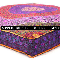 Indian Handmade Purple Flower Mandala Ottoman Square Floor Pouf Cushion cover