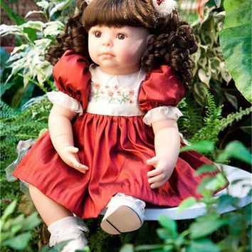 """Pursue 22""""/56 cm Real Baby Soft Vinyl Silicone Reborn Dolls Babies Princess Girl Toddler Doll Toys for Sale Reborn Doll Gift Toy"""