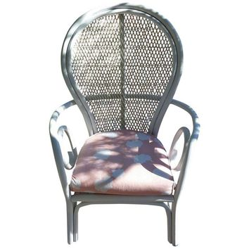 Pre-owned Vintage Bentwood Rattan Throne Chair