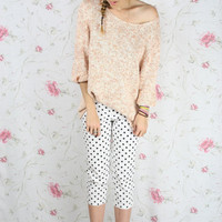 Vintage peach knit sweater - oversize slouch pastel jumper S-M