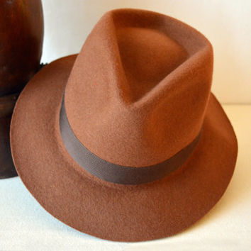 Orange Brown Wool Felt Fedora - Wide Brim Merino Wool Felt Handmade Fedora Hat - Men Women