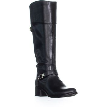 A35 Fidoe Wide Calf Riding Boots, Black, 6 US