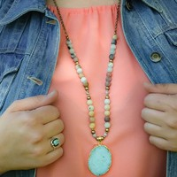 Ole Women's Gold Stone Geode Necklace
