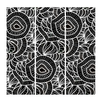 Organic Black & White Repeat Pattern Triptych