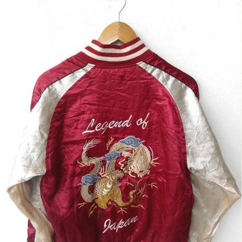 ON SALE SUKAJAN Japanese Japan Vintage 1990's Embroidery Legend Dragon Red Jacket Embroidered Souvenirs Jacket