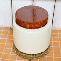 Vintage 1950s McCoy Cookie Jar #214, McCoy Pottery, McCoy Brown and Tan, Cookie Canister, Gift for Him
