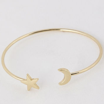 Moon and Stars Simple Bangle - Gold