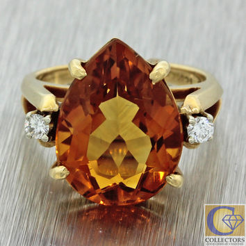 Vintage Estate 14k Solid Yellow Gold 6ct Citrine .10ctw Diamond Cocktail Ring